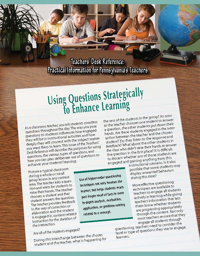 Teachers' Desk Reference: Using Questions Strategically to Enhance Learning