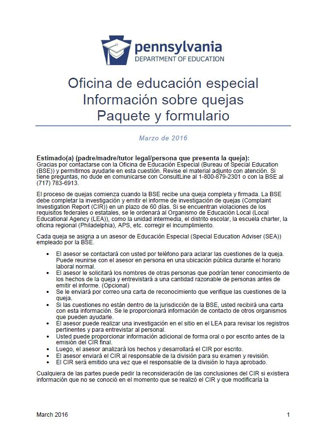 Bureau of Special Education Complaint Information Packet and Form - Spanish