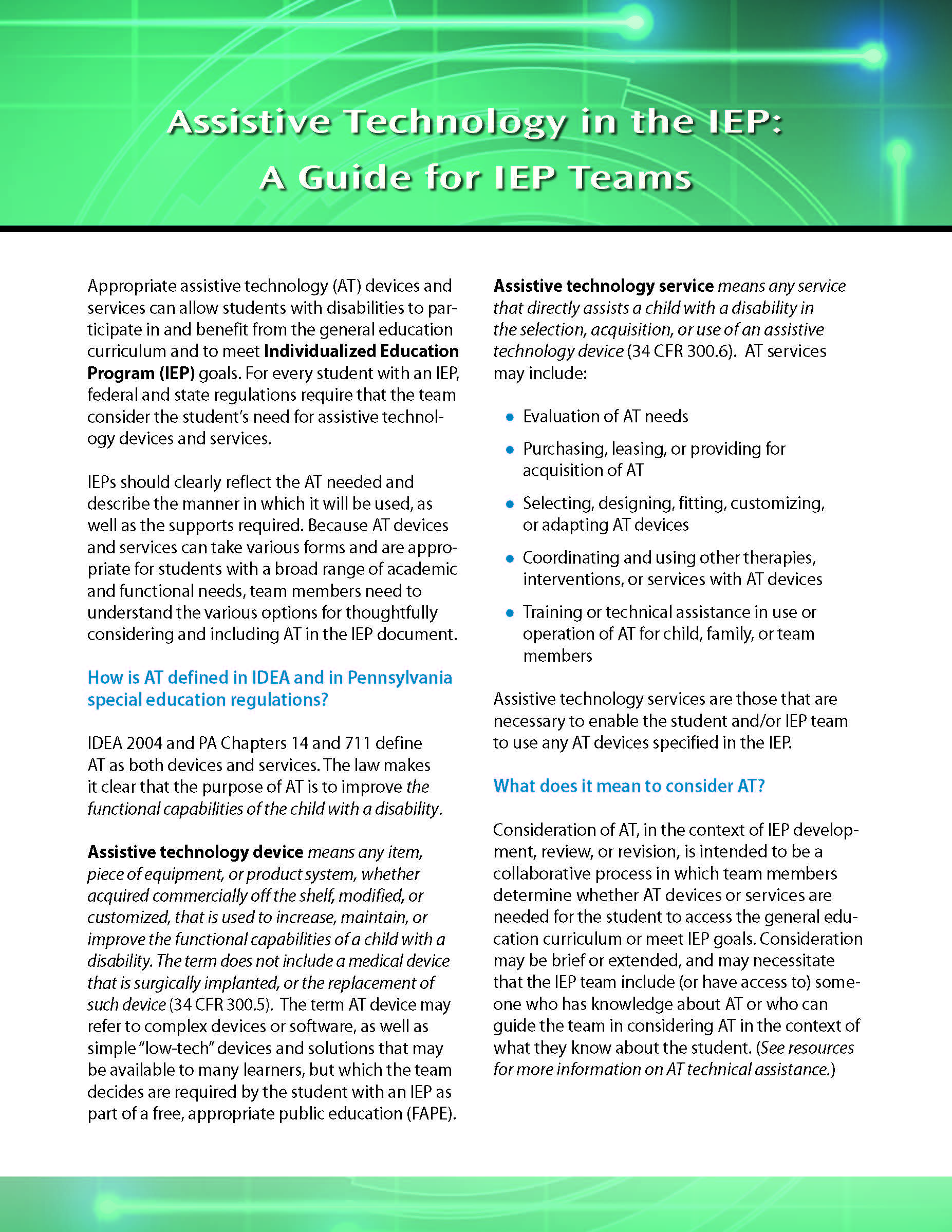 Assistive Technology in the IEP: A Guide for IEP Teams