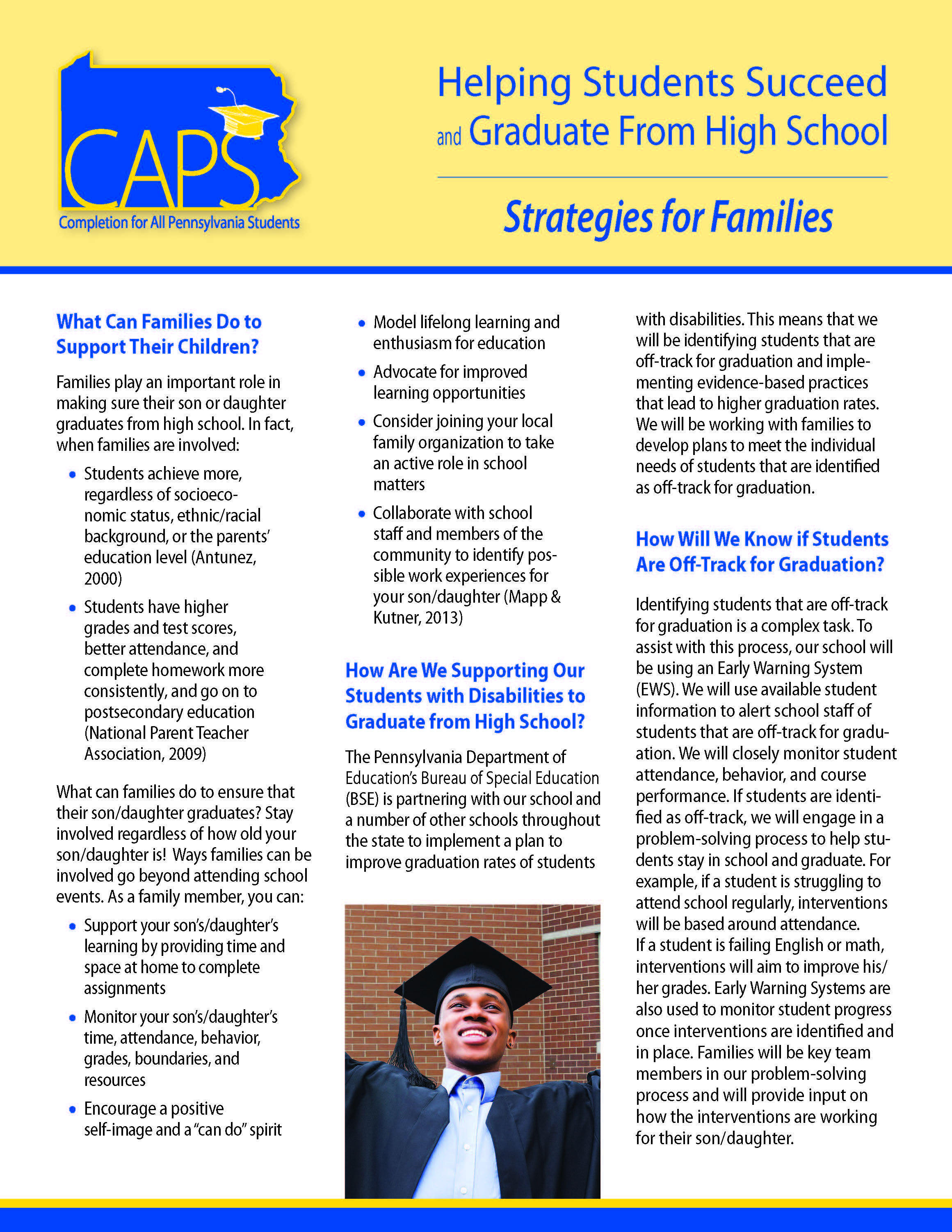 CAPS: Helping Students Succeed and Graduate From High School - Strategies for Families