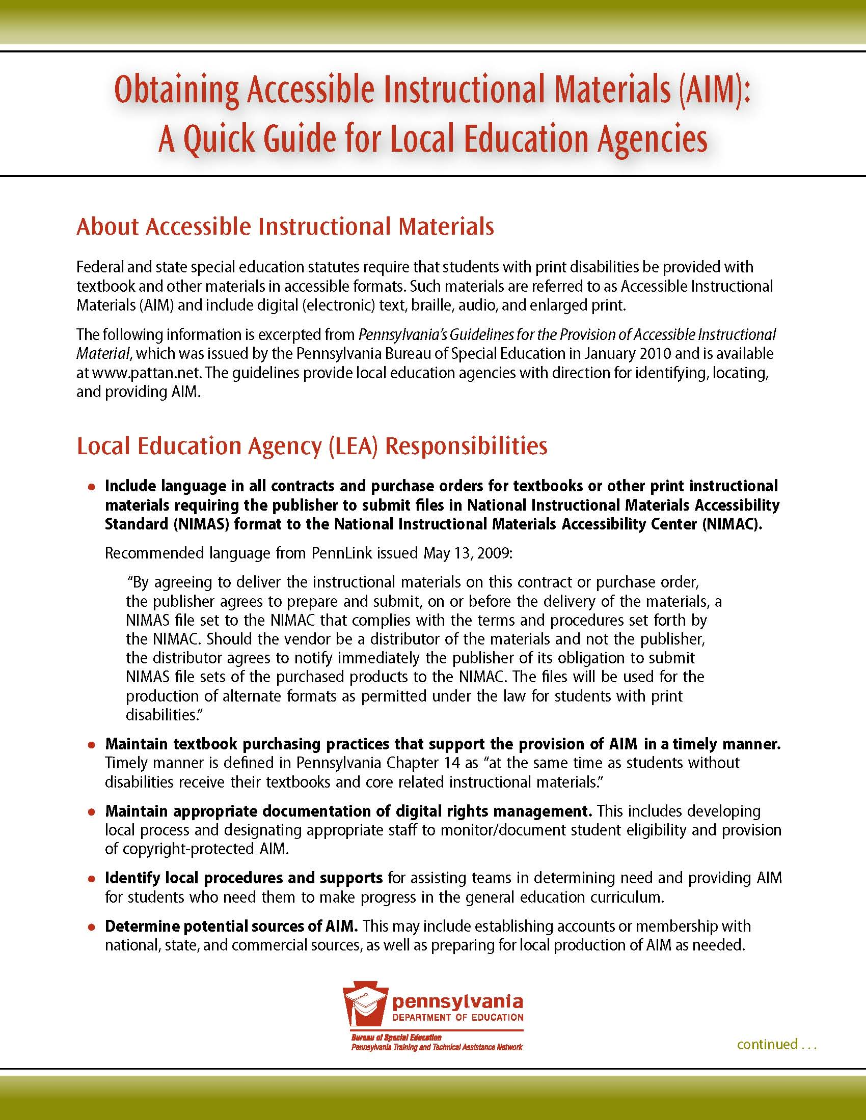 Obtaining Accessible Instructional Materials (AIM): A Quick Guide for Local Education Agencies