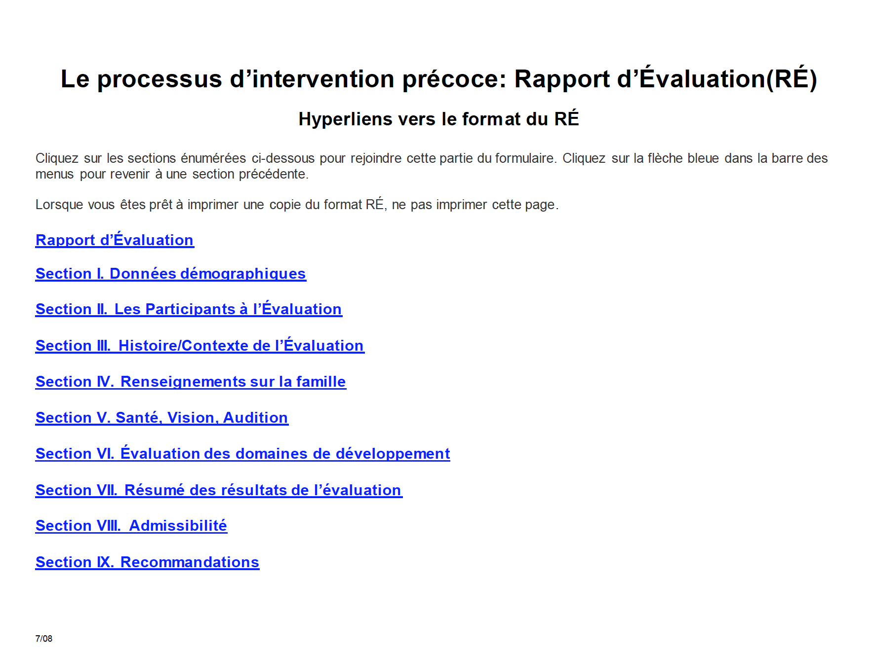 Evaluation Report - Early Intervention French Version
