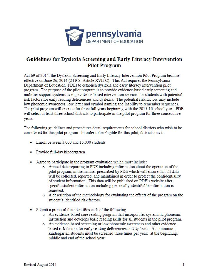 Guidelines for Dyslexia Screening and Early Literacy Intervention Pilot Program